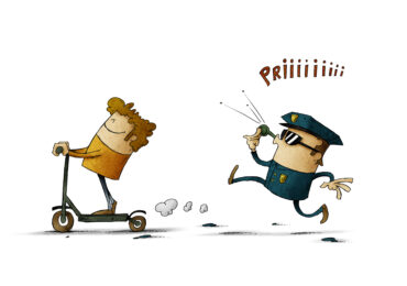 illustration of a man riding an electric scooter and a policeman running behind whistling.